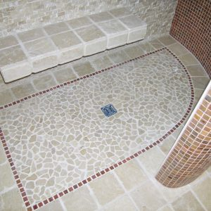 shower floor inlay and shower bench
